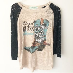 {Southern Grace} Cowgirl Boots Burnout Tee